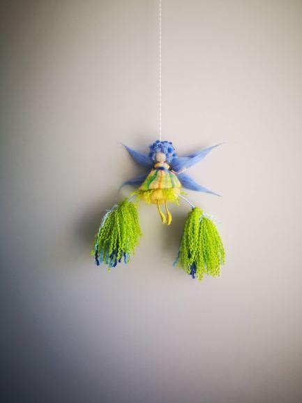 Hada-azul y verde de lana