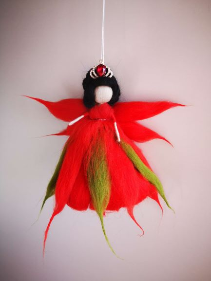 hada de lana color rojo